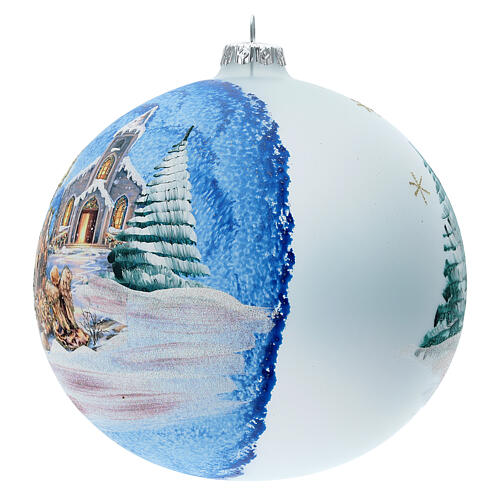 Christmas ball with Nordic Nativity and landscape in blown glass 150 mm 2