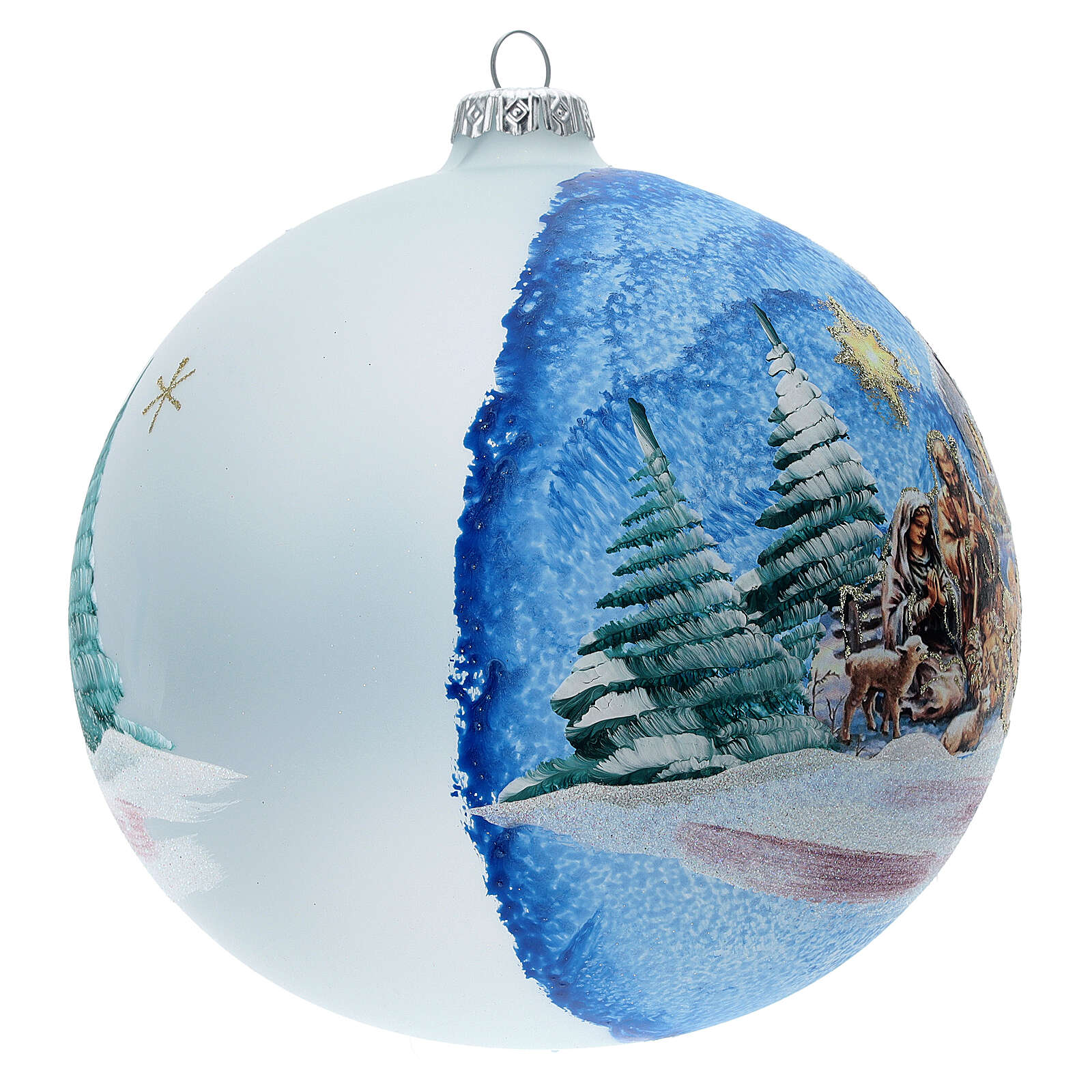Glass Christmas ball with Nativity Nordic landscape 150 mm 4