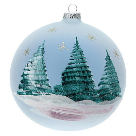 Glass Christmas ball with Nativity Nordic landscape 150 mm s5