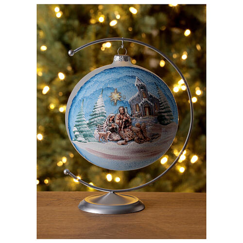 Glass Christmas ball with Nativity Nordic landscape 150 mm 2