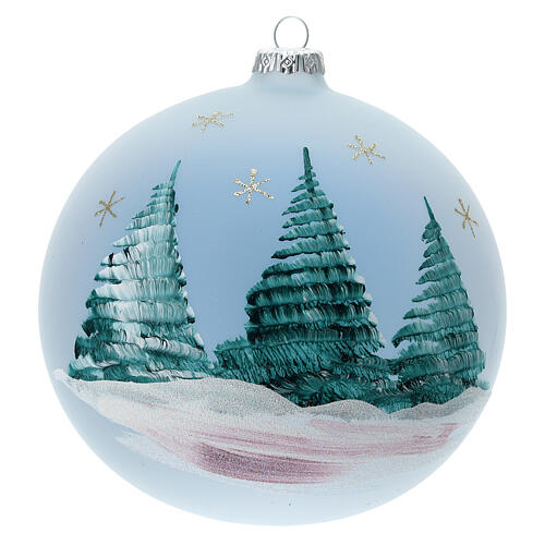 Glass Christmas ball with Nativity Nordic landscape 150 mm 5