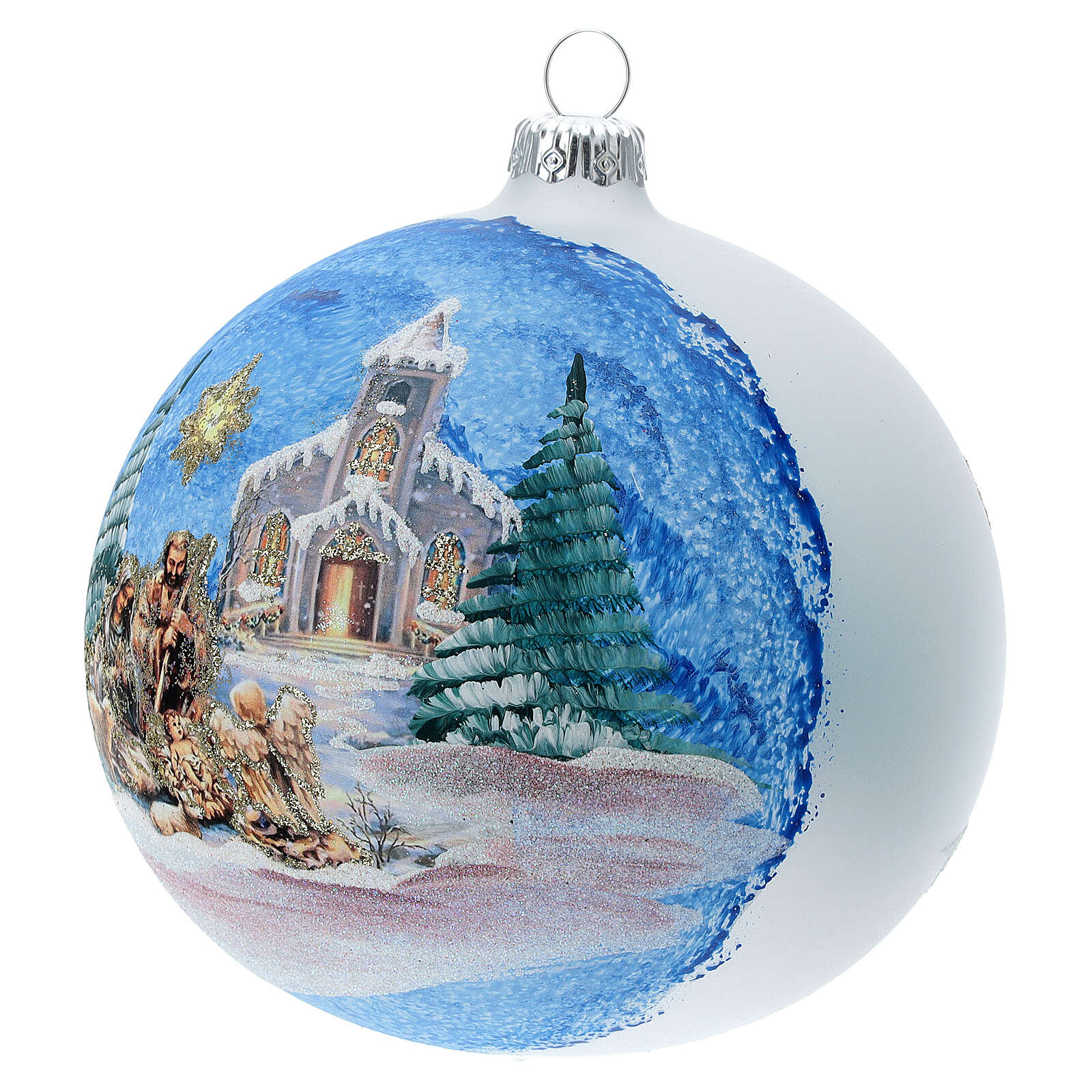 Christmas tree ball in blown glass with Holy Family and comet 120 mm 4