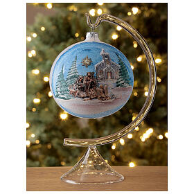 Christmas tree ball in blown glass with Holy Family and comet 120 mm s2