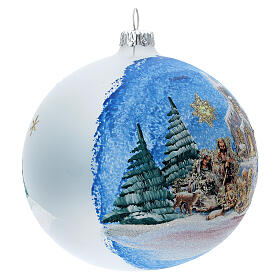 Christmas tree ball in blown glass with Holy Family and comet 120 mm s4