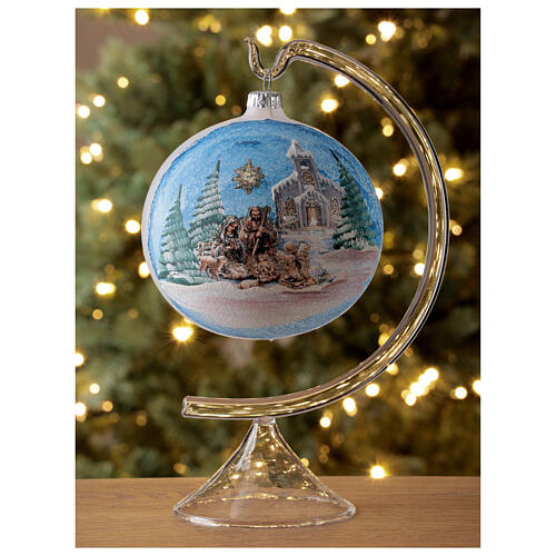 Christmas tree ball in blown glass with Holy Family and comet 120 mm 2
