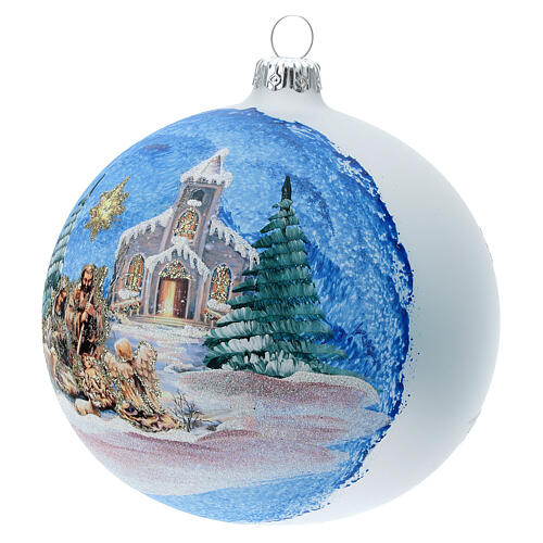 Christmas tree ball in blown glass with Holy Family and comet 120 mm 3