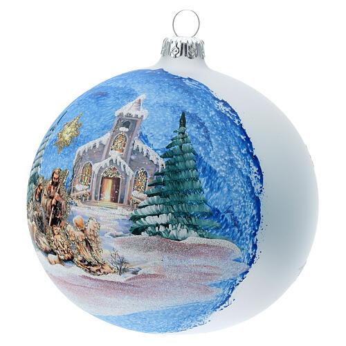 Palla albero Natale vetro soffiato Sacra Famiglia cometa 120 mm 3