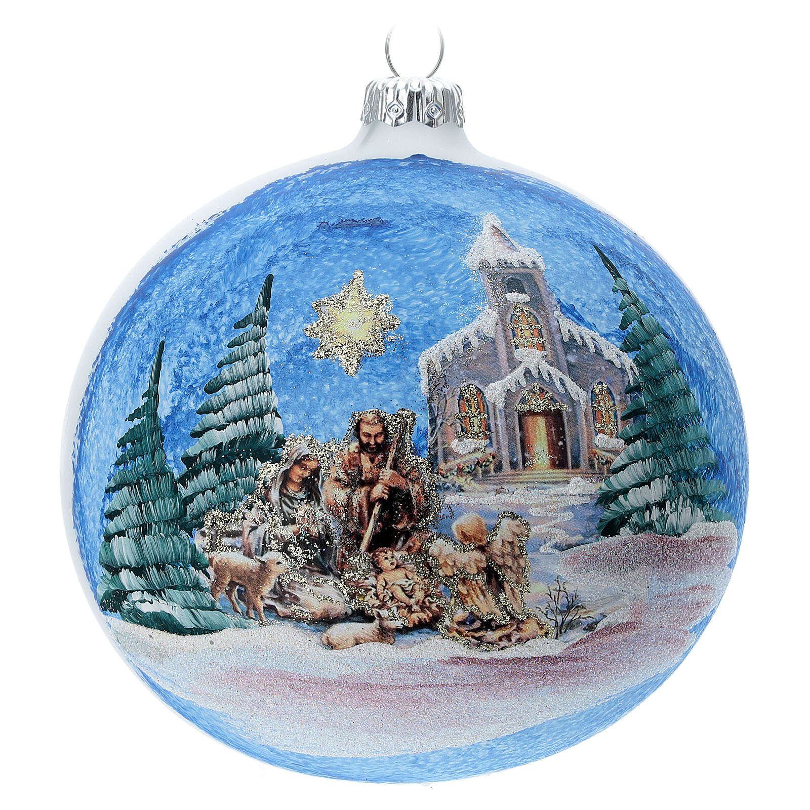 Christmas ball Holy Family comet in blown glass 120 mm 4