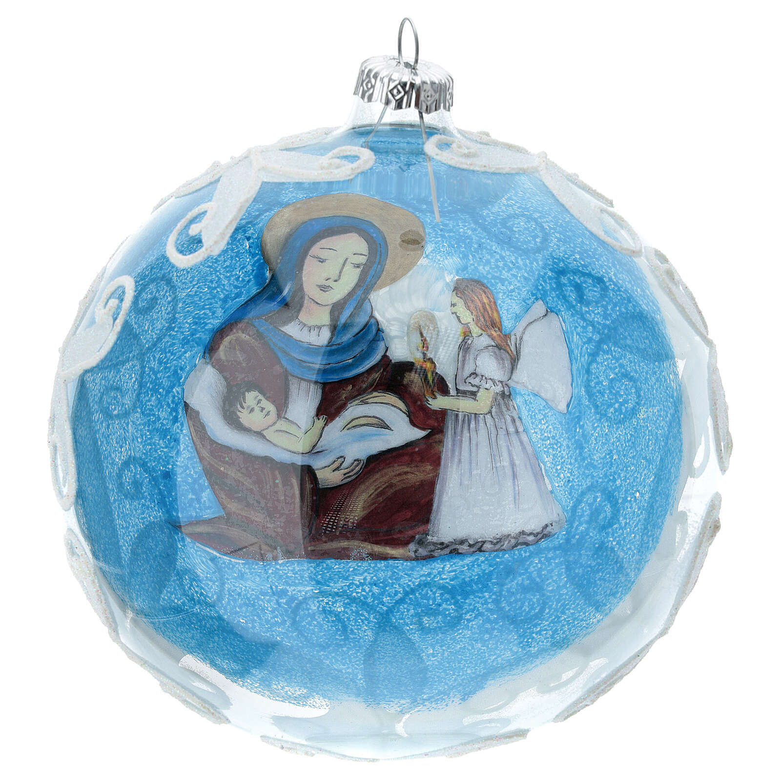 Boule pour sapin Vierge à l'Enfant verre soufflé 150 mm 4