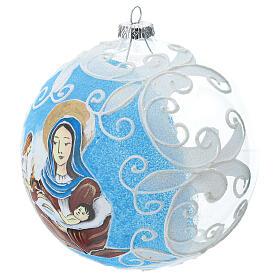 Boule pour sapin Vierge à l'Enfant verre soufflé 150 mm s2