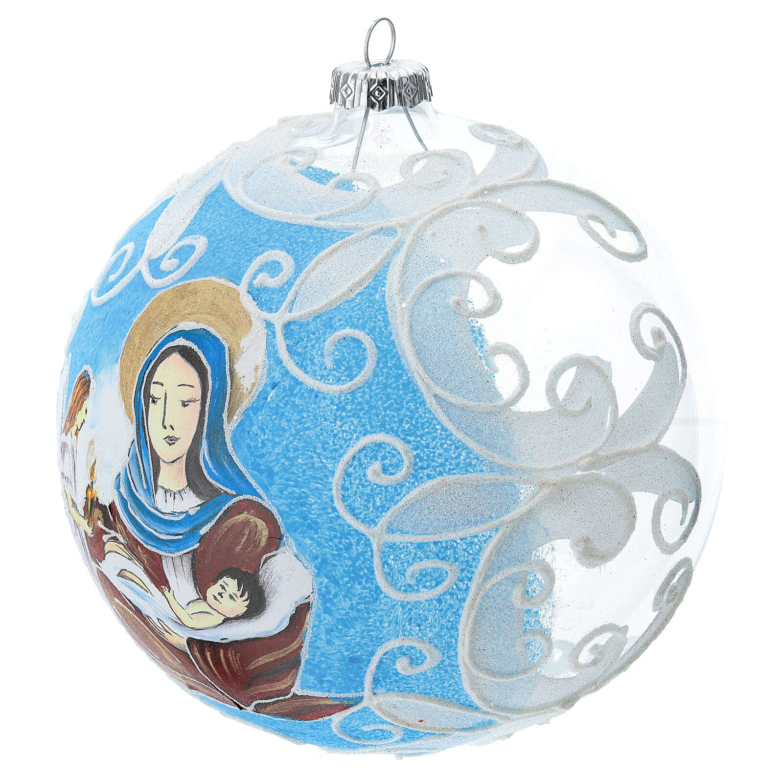Virgin Mary and Baby Jesus glass ball Christmas ornament 150 mm 4