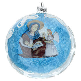 Virgin Mary and Baby Jesus glass ball Christmas ornament 150 mm s4