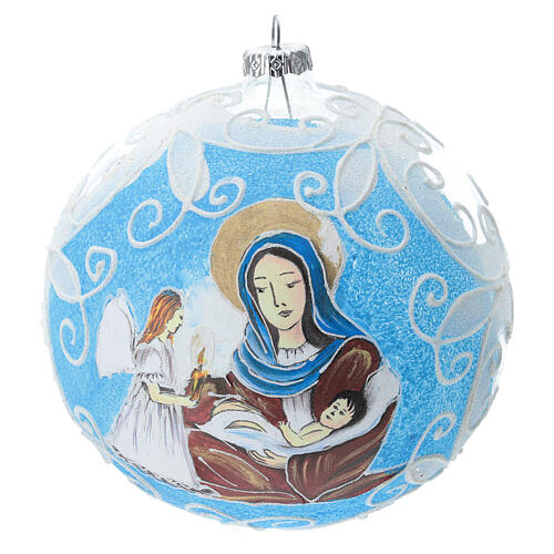 Virgin Mary and Baby Jesus glass ball Christmas ornament 150 mm 1