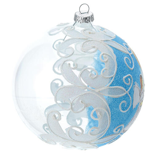 Virgin Mary and Baby Jesus glass ball Christmas ornament 150 mm 3