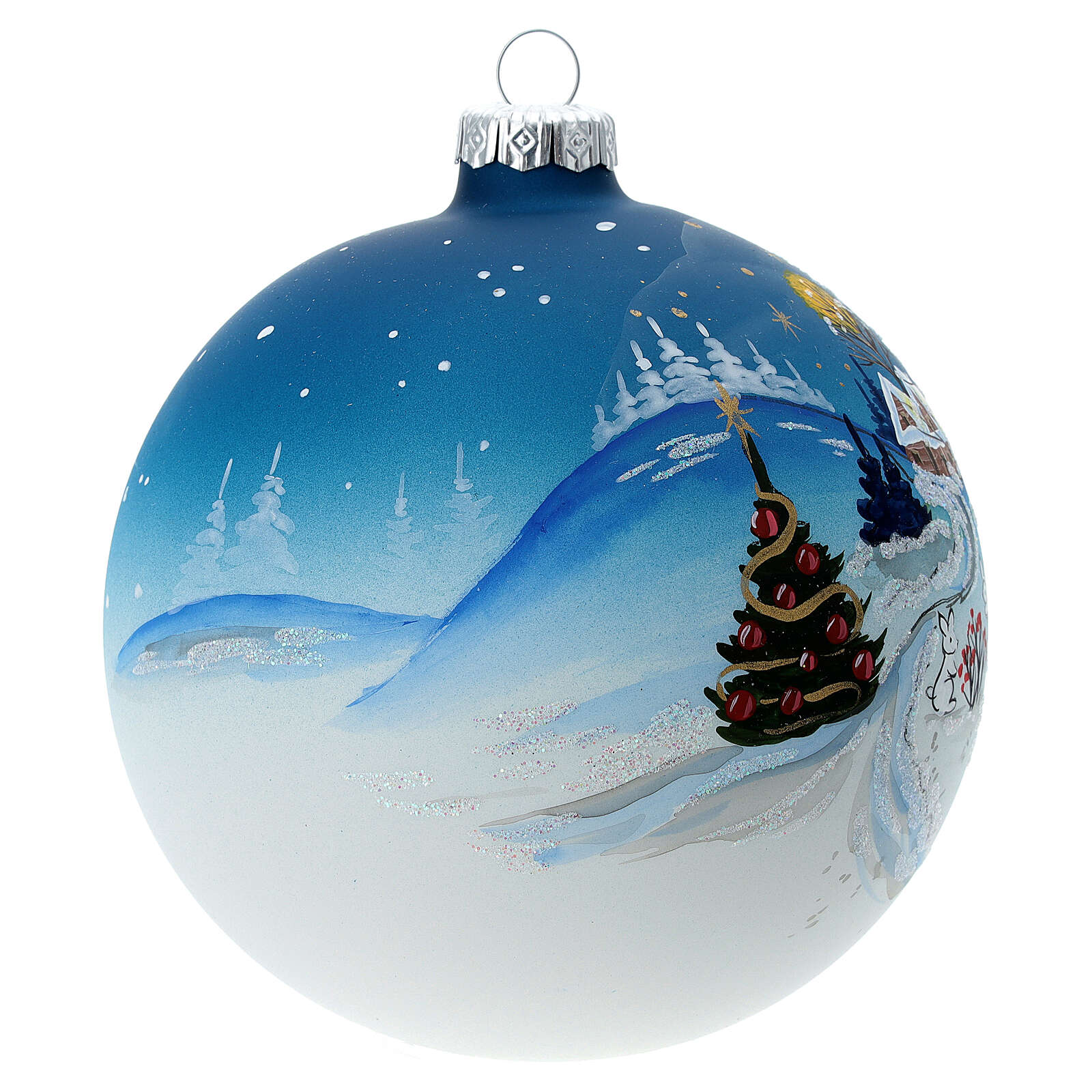 Christmas ball with snow landscape, moon and blown glass tree 120 mm 4