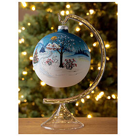 Christmas ball with snow landscape, moon and blown glass tree 120 mm s2
