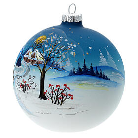 Christmas ball with snow landscape, moon and blown glass tree 120 mm s3