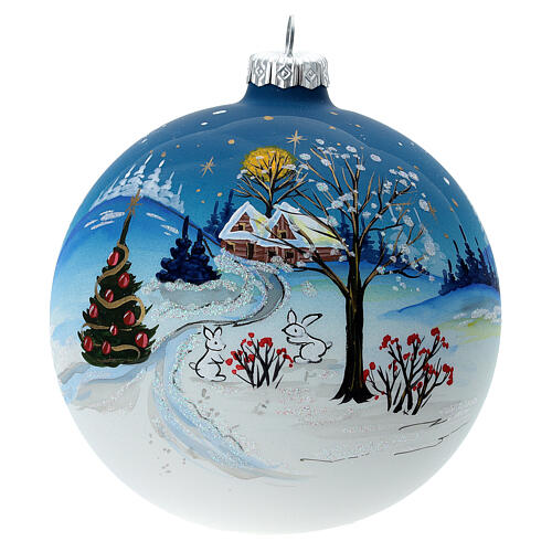 Christmas ball with snow landscape, moon and blown glass tree 120 mm 1