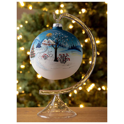 Christmas ball with snow landscape, moon and blown glass tree 120 mm 2