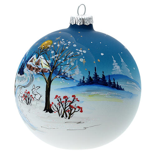 Christmas ball with snow landscape, moon and blown glass tree 120 mm 3