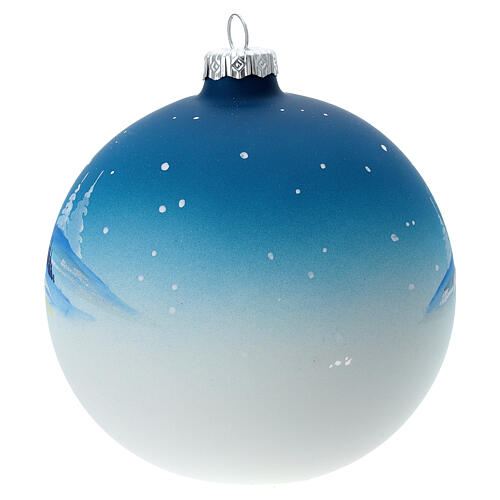 Christmas ball with snow landscape, moon and blown glass tree 120 mm 5