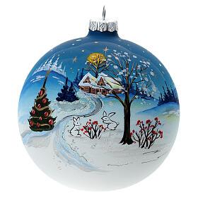 Glass Christmas ball Winter landscape 120 mm s1