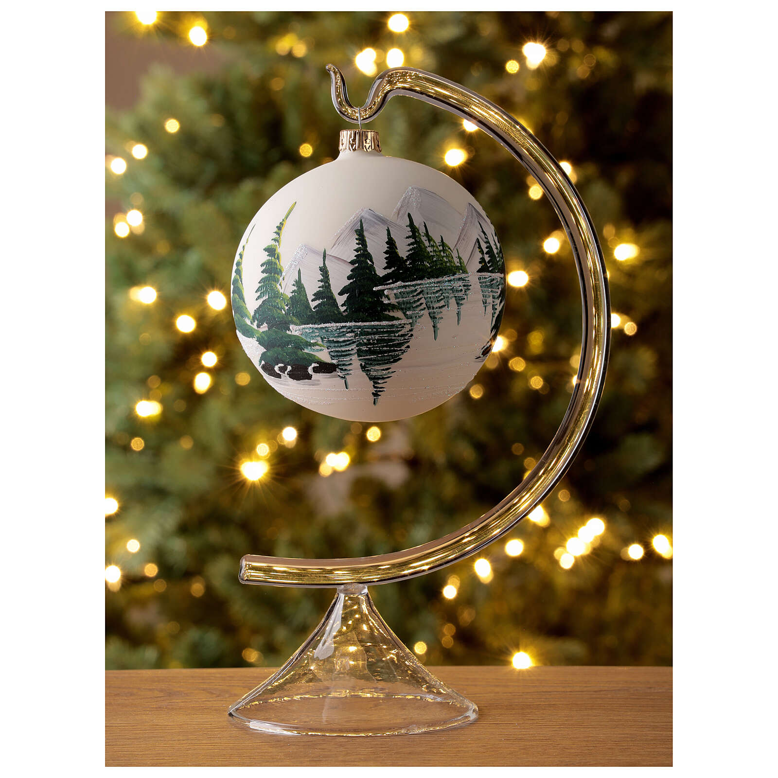 Christmas tree ball 100 mm in white blown glass with snow landscape 4