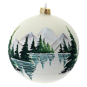 Christmas tree ball 100 mm in white blown glass with snow landscape s1