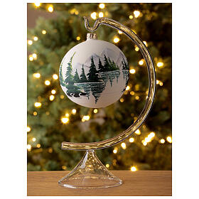 Christmas tree ball 100 mm in white blown glass with snow landscape s2