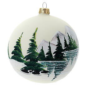 Christmas tree ball 100 mm in white blown glass with snow landscape s4