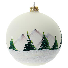 Christmas tree ball 100 mm in white blown glass with snow landscape s5