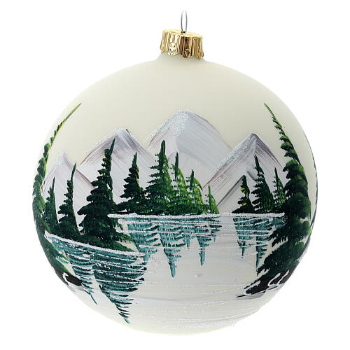 Christmas tree ball 100 mm in white blown glass with snow landscape 1