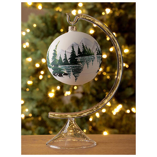 Christmas tree ball 100 mm in white blown glass with snow landscape 2