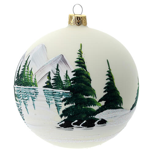 Christmas tree ball 100 mm in white blown glass with snow landscape 3