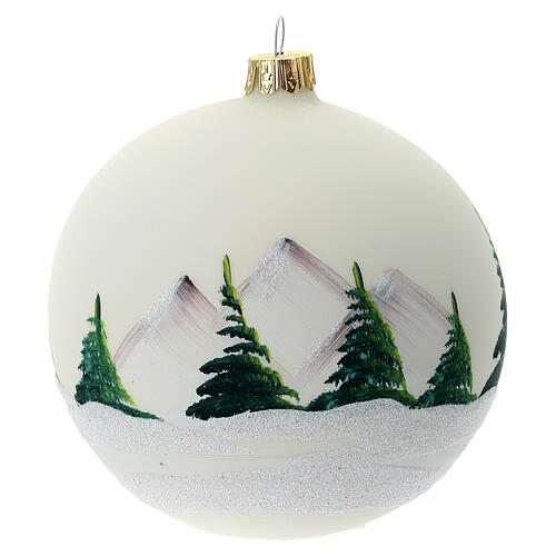 Christmas tree ball 100 mm in white blown glass with snow landscape 5