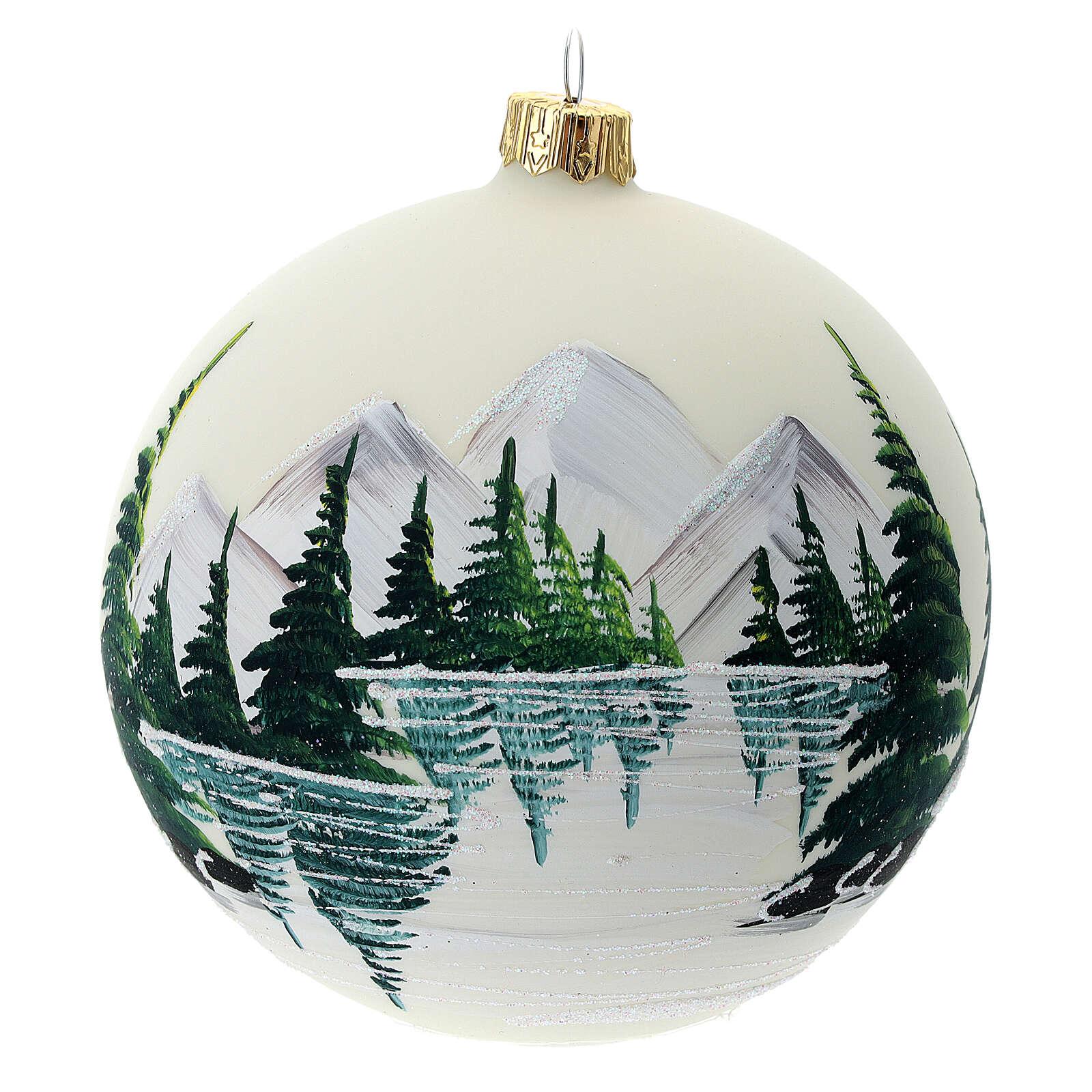 Bola árvore de Natal vidro soprado paisagem nevada com lago 100 mm 4