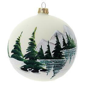 Bola árvore de Natal vidro soprado paisagem nevada com lago 100 mm s4