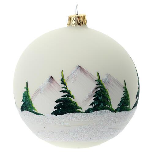 Bola árvore de Natal vidro soprado paisagem nevada com lago 100 mm 5