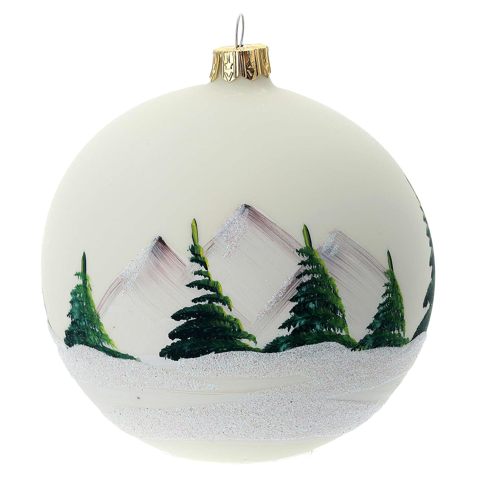 Glass Christmas ball 100 mm snowy landscape 4