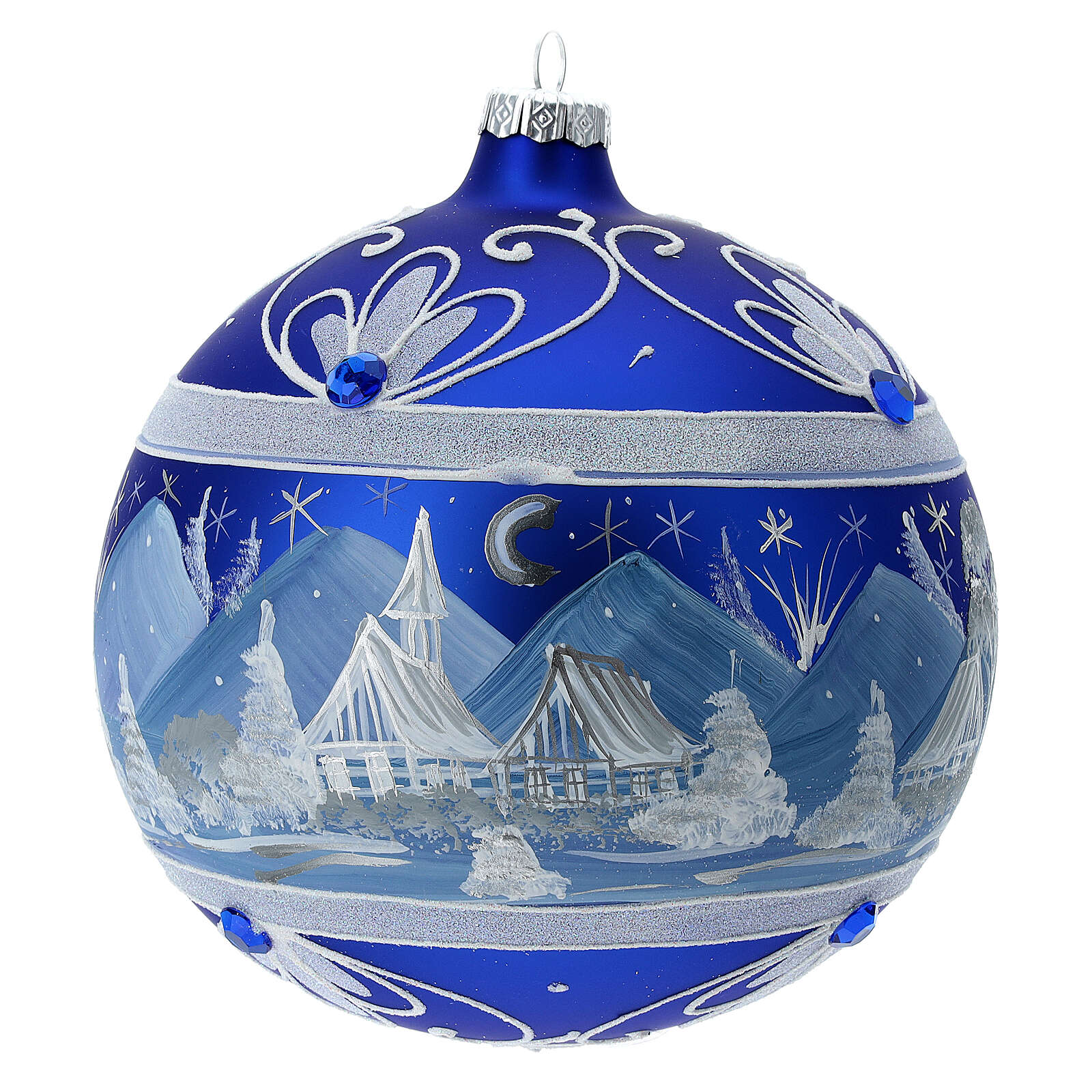 Christmas ball with blue snowy mountains in 150 mm blown glass 4