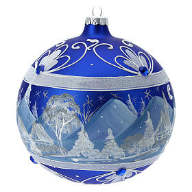 Christmas ball with blue snowy mountains in 150 mm blown glass s4