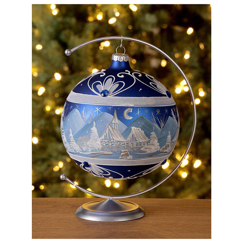 Christmas ball with blue snowy mountains in 150 mm blown glass 2