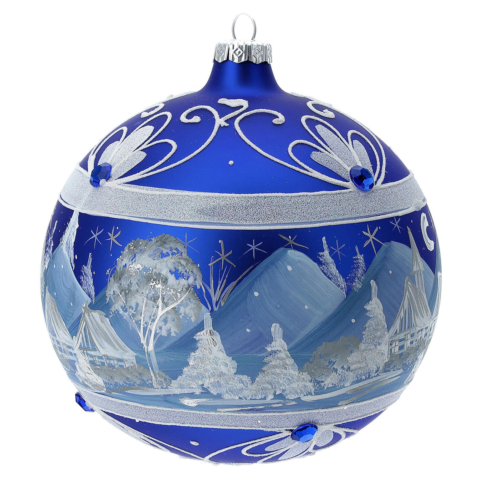 Pallina Natale montagne innevate blu vetro soffiato 150 mm 4
