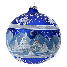 Pallina Natale montagne innevate blu vetro soffiato 150 mm s1