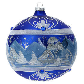 Pallina Natale montagne innevate blu vetro soffiato 150 mm s3