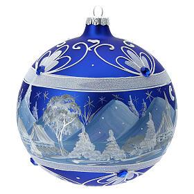 Pallina Natale montagne innevate blu vetro soffiato 150 mm s4