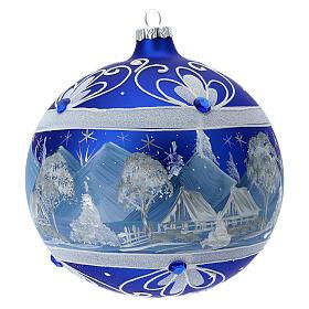Pallina Natale montagne innevate blu vetro soffiato 150 mm s5