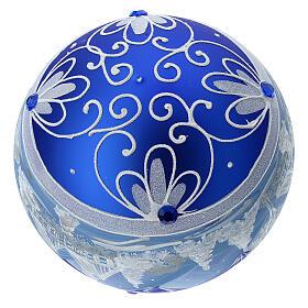 Pallina Natale montagne innevate blu vetro soffiato 150 mm s6