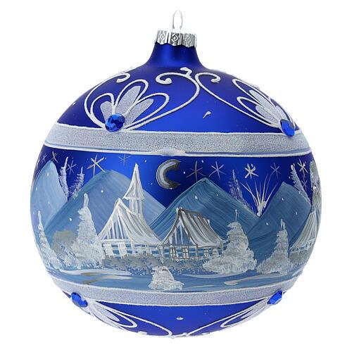 Pallina Natale montagne innevate blu vetro soffiato 150 mm 1