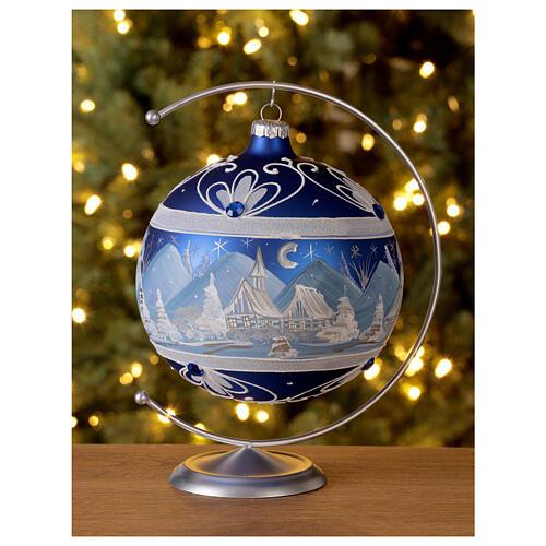 Pallina Natale montagne innevate blu vetro soffiato 150 mm 2